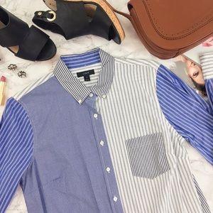 J.Crew Cocktail Shirt in Blue Multi-Stripe Print